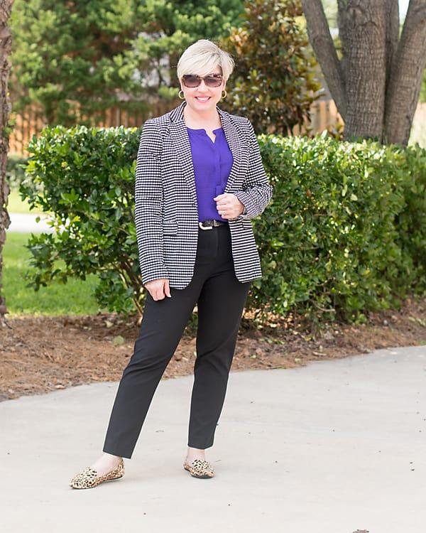 summer work wear with gingham blazer