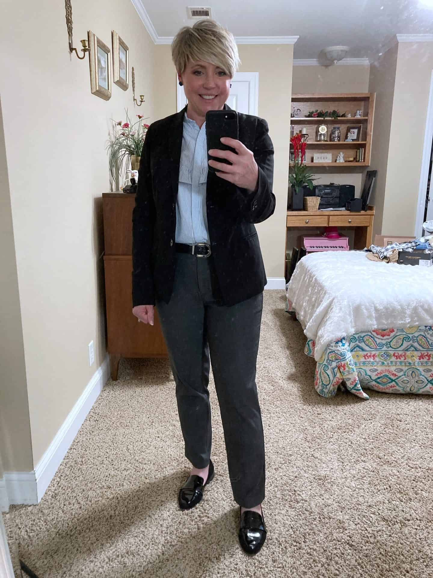 office outfit grey pants