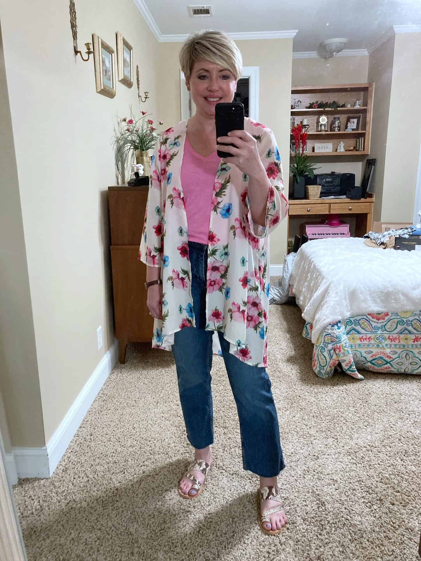 kimono outfit with jeans