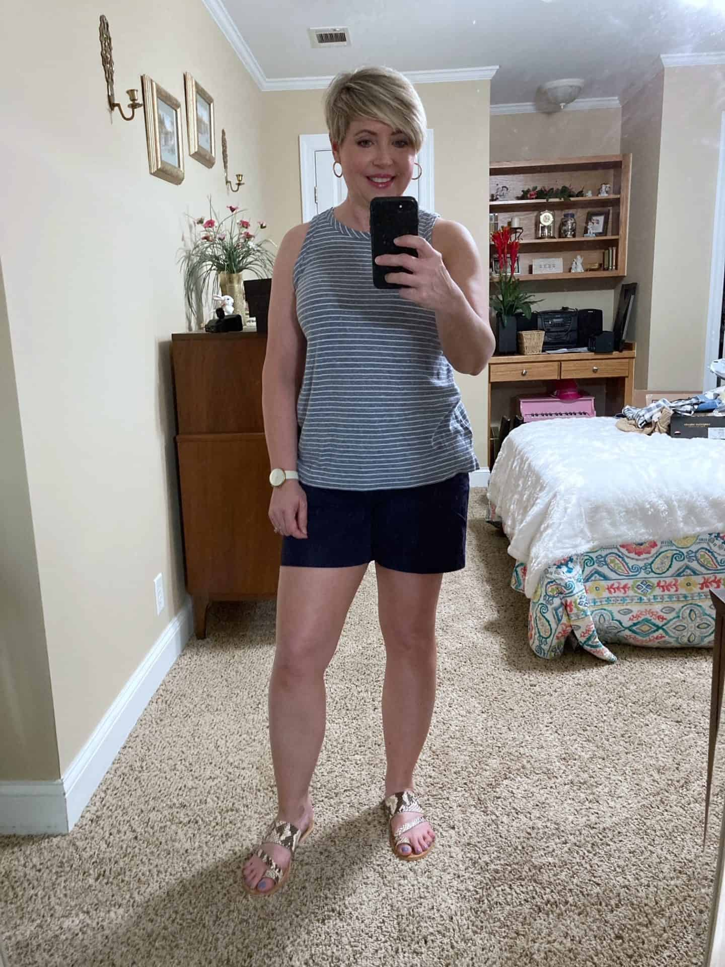 ladies summer outfit navy shorts