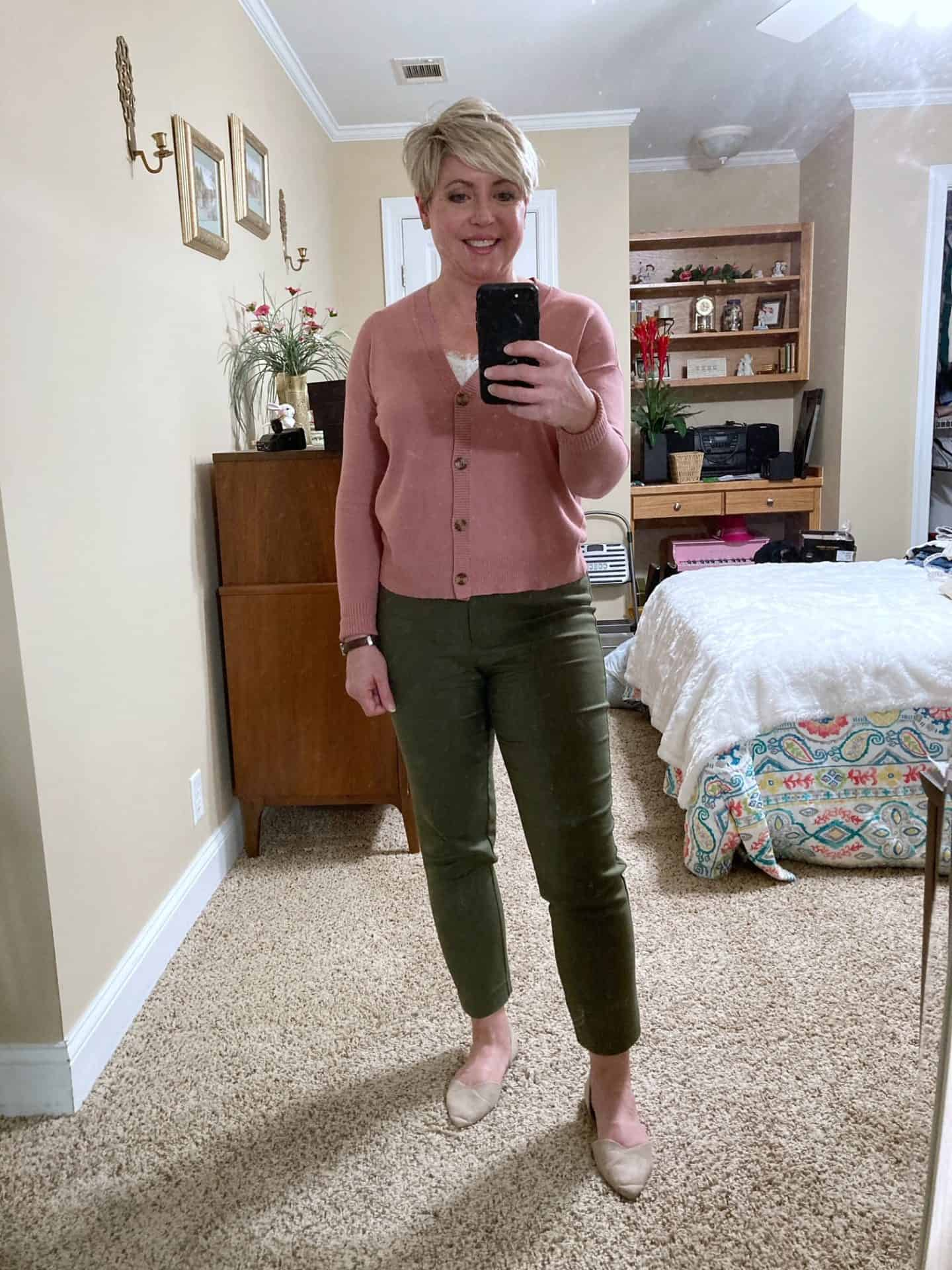 olive pants work outfit