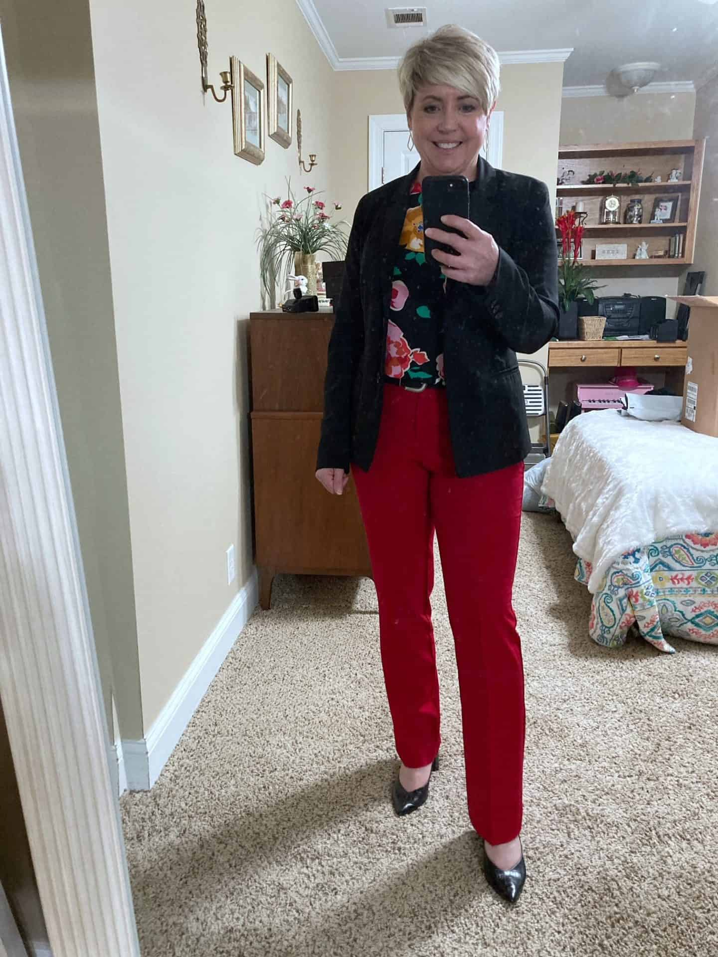 red pants business attire