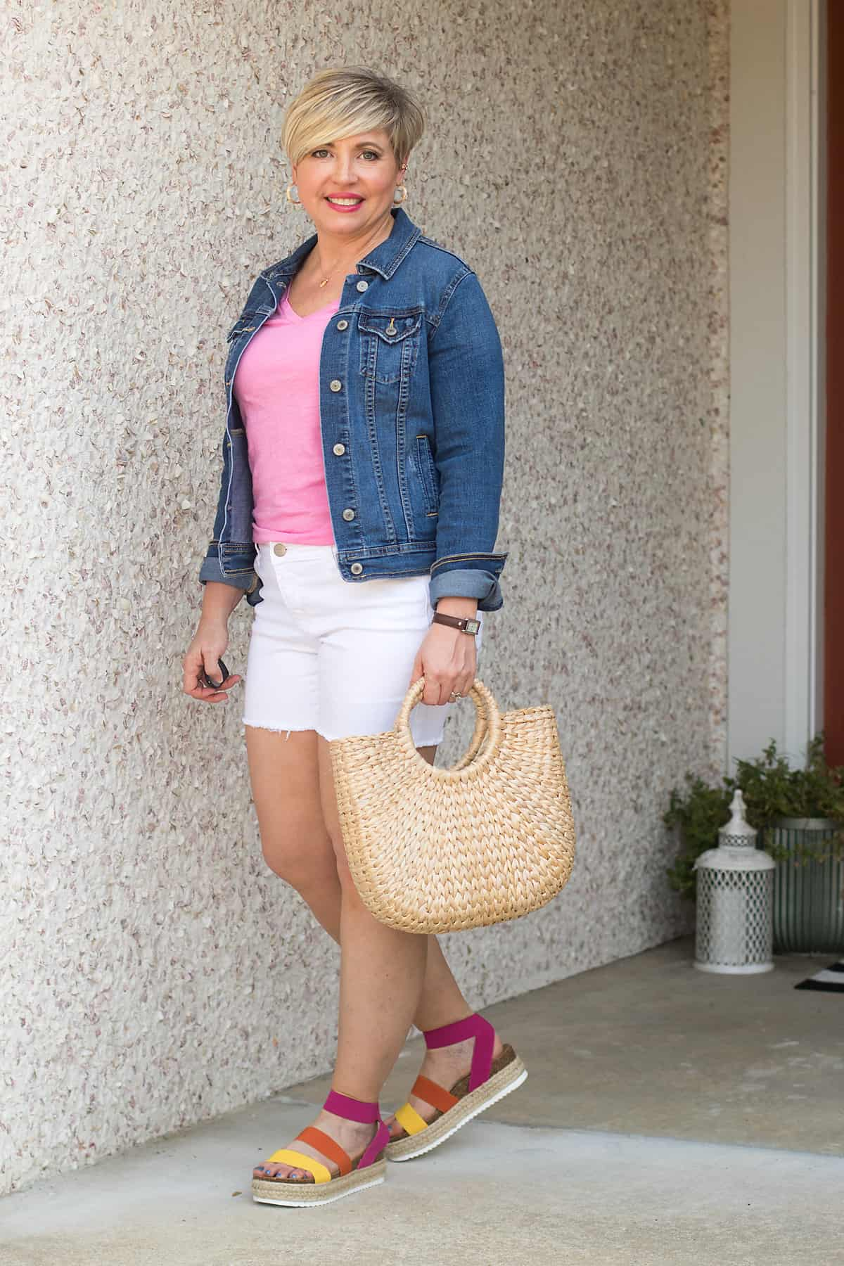 summer outfit with straw bag