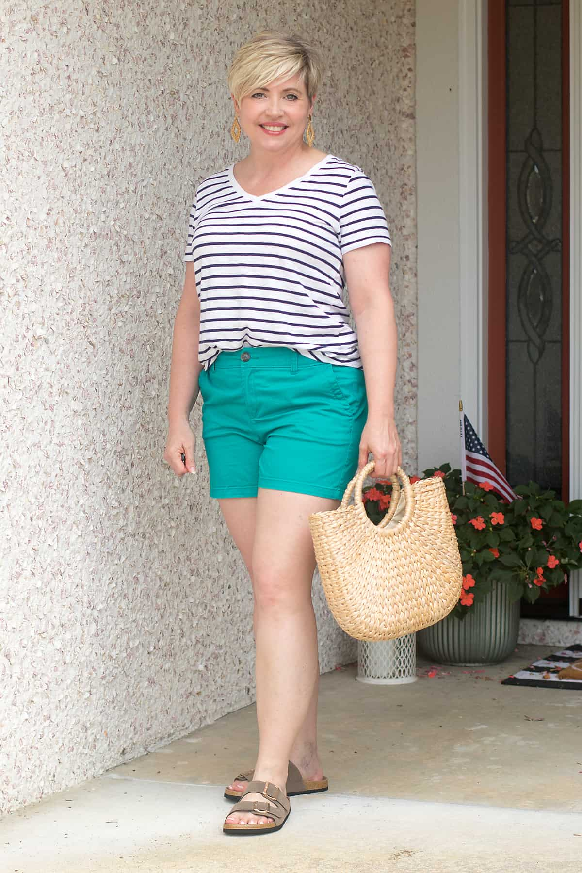 striped tshirt and bright shorts
