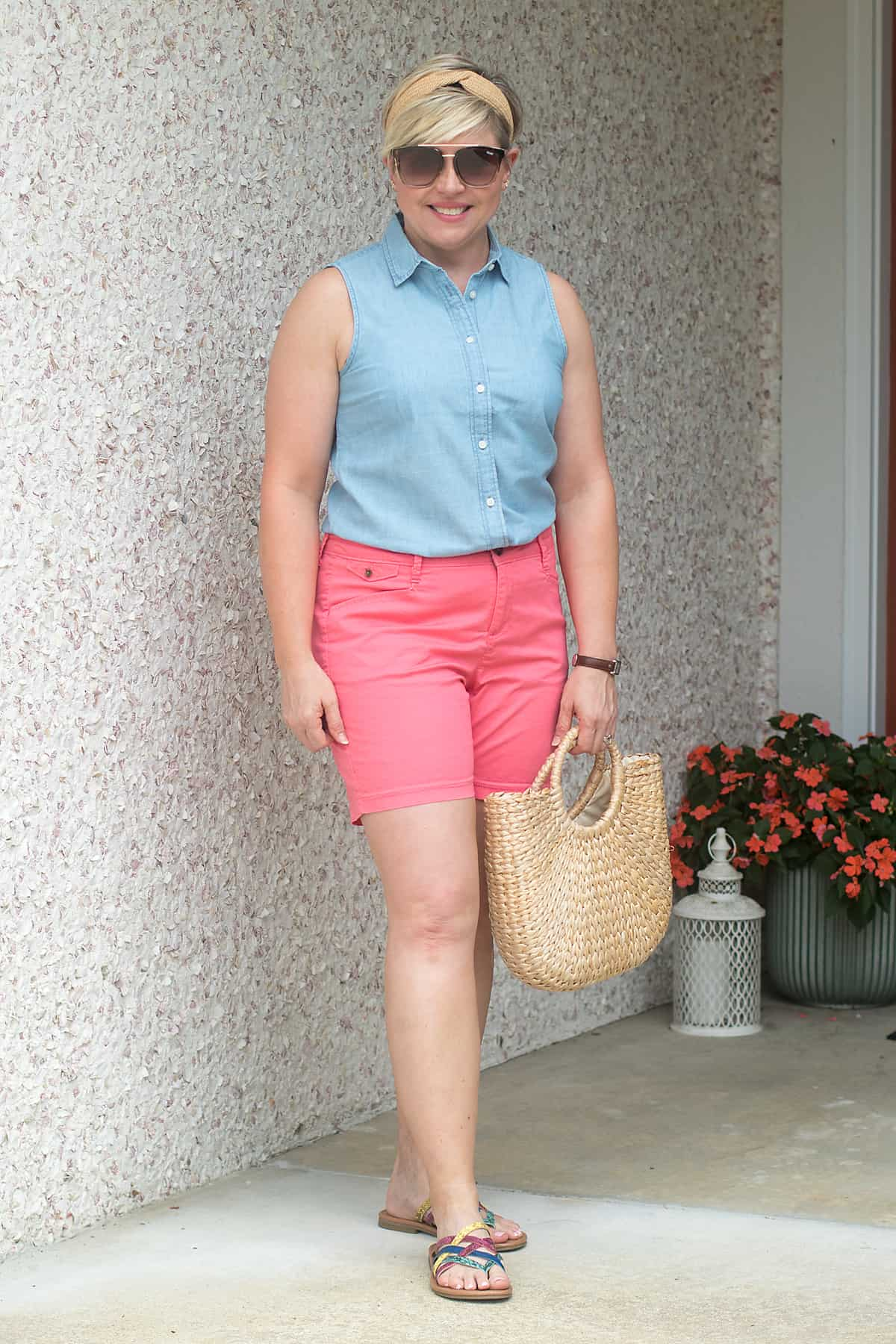 women's summer outfit with straw accessories