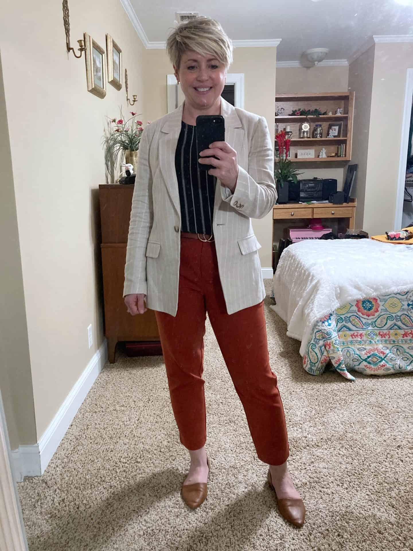 linen blazer outfit womens work wear