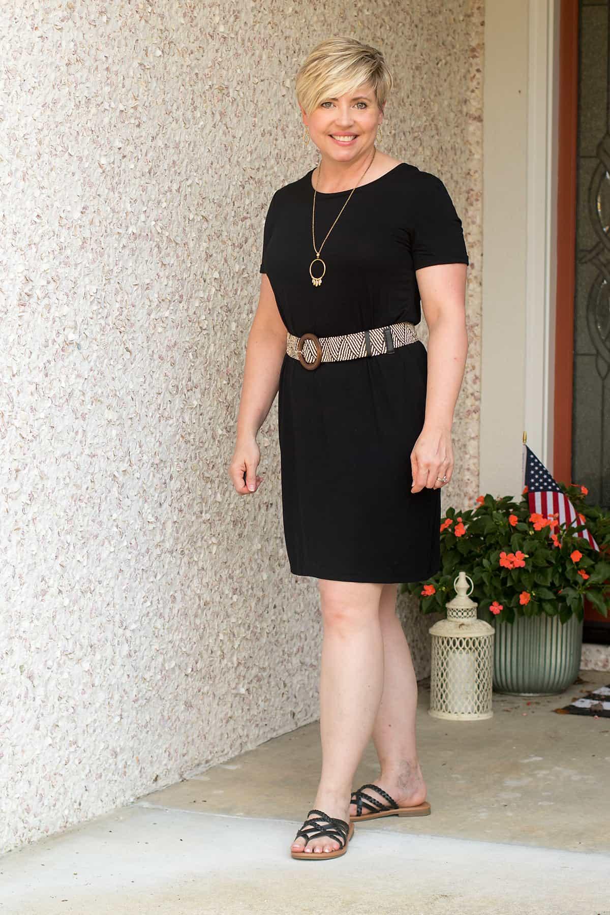 tshirt dress with straw belt