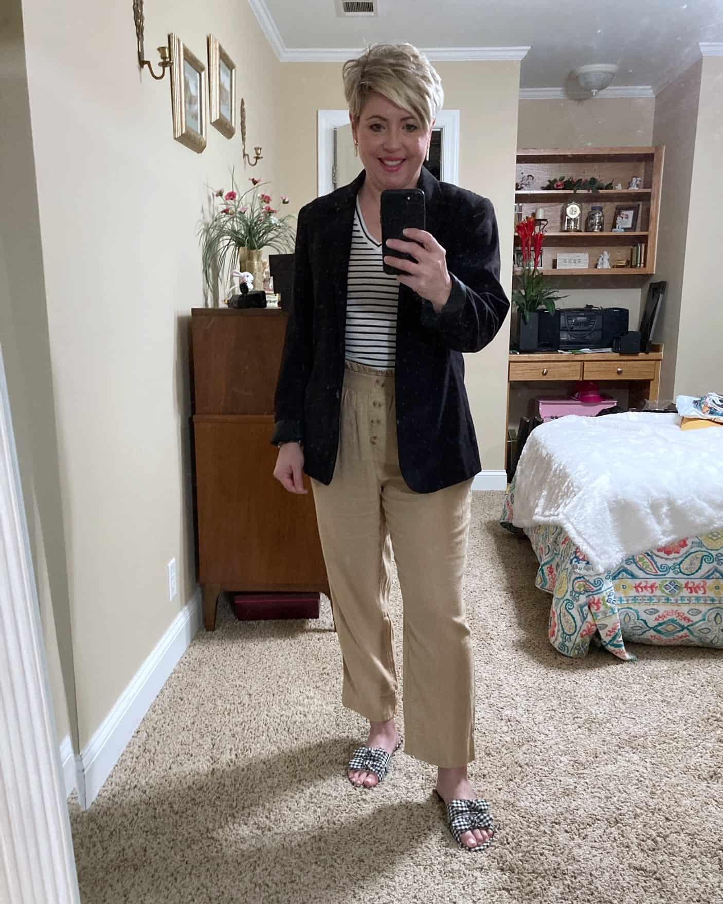 paperbag waist pants and blazer