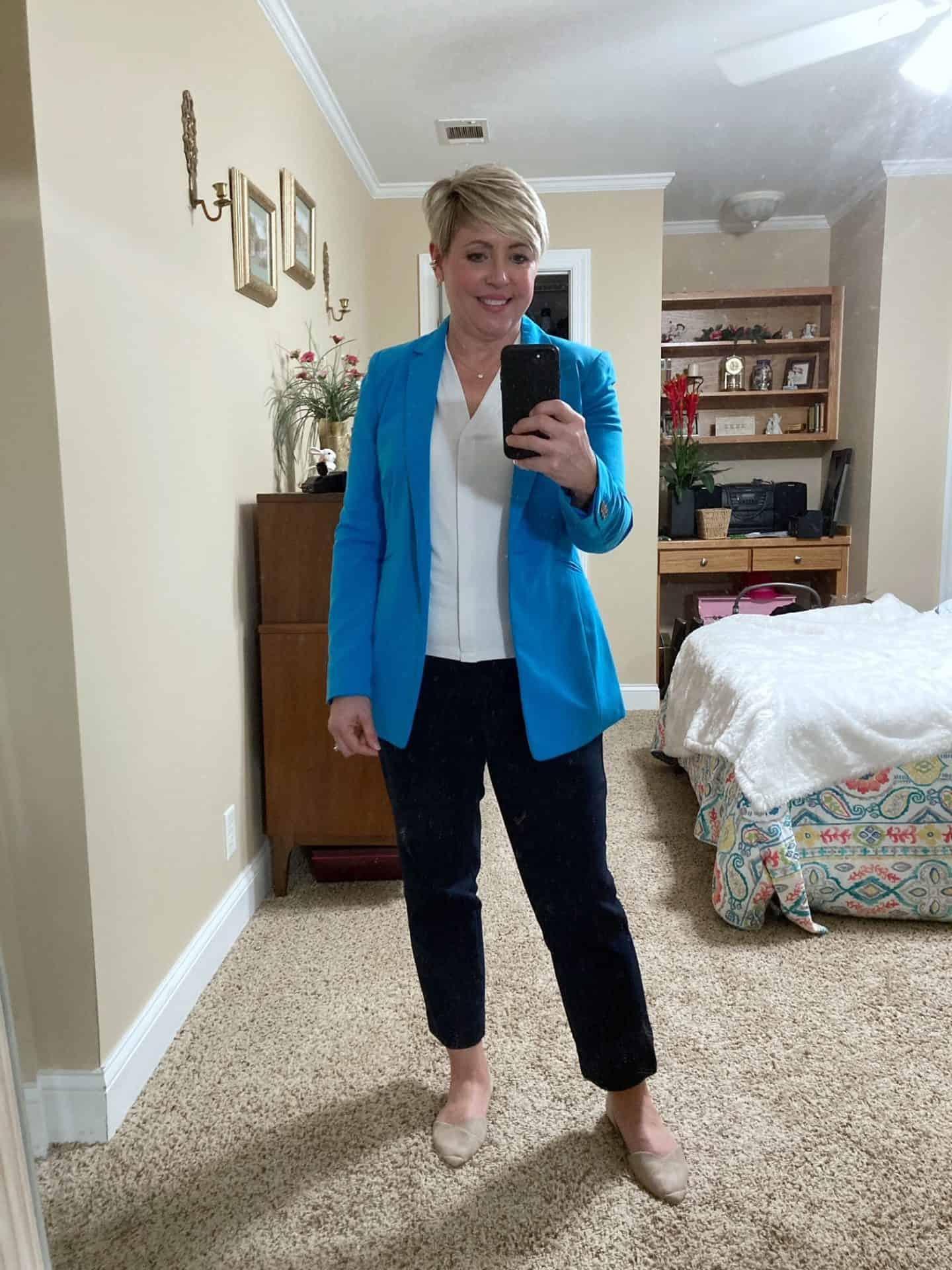 bright blue blazer with navy pants office outfit