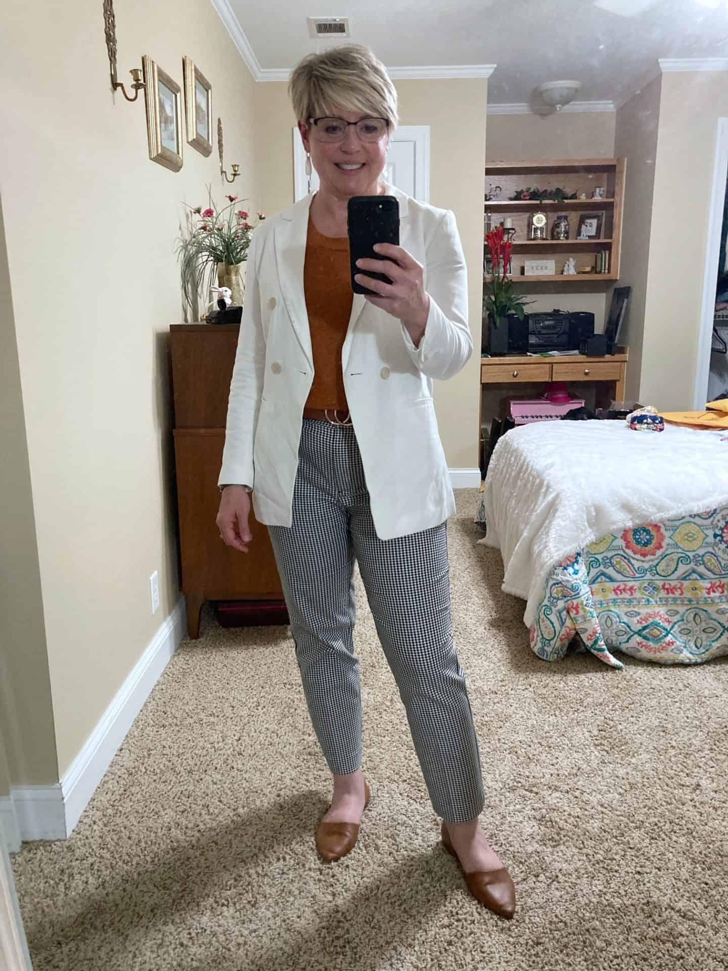 white linen blazer outfit