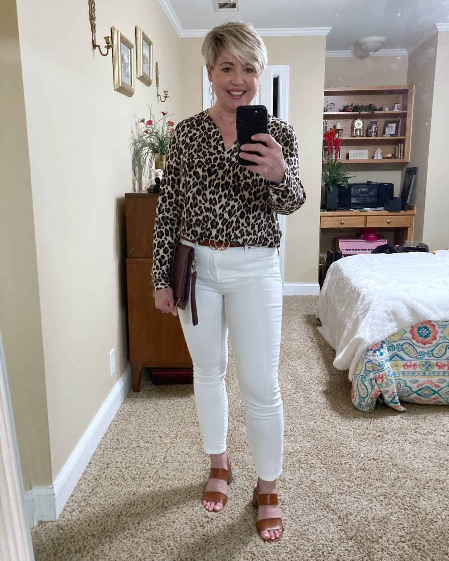 leopard print top with white jeans outfit