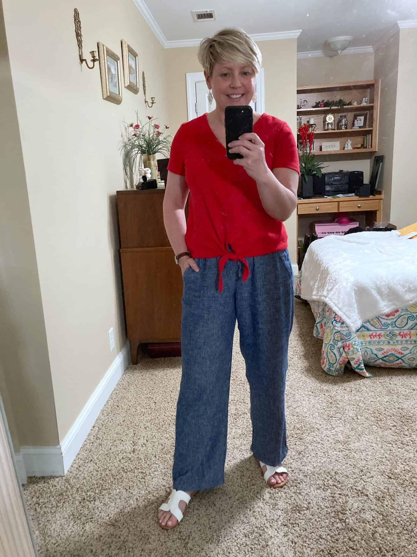 womens chambray linen wide leg pants