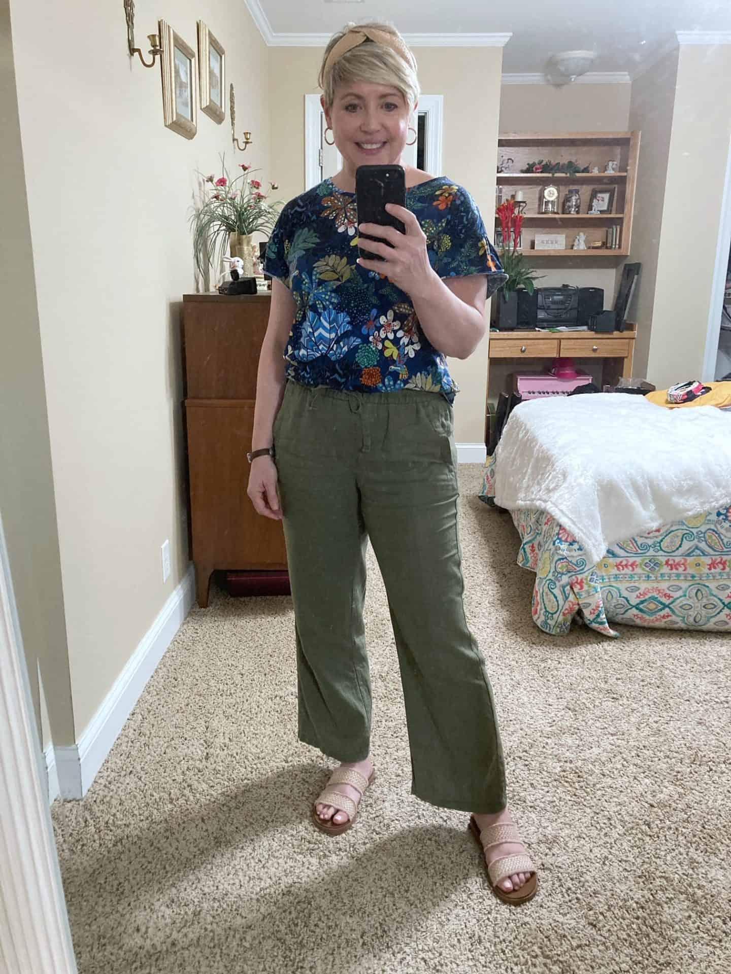 floral top with wide leg linen pants
