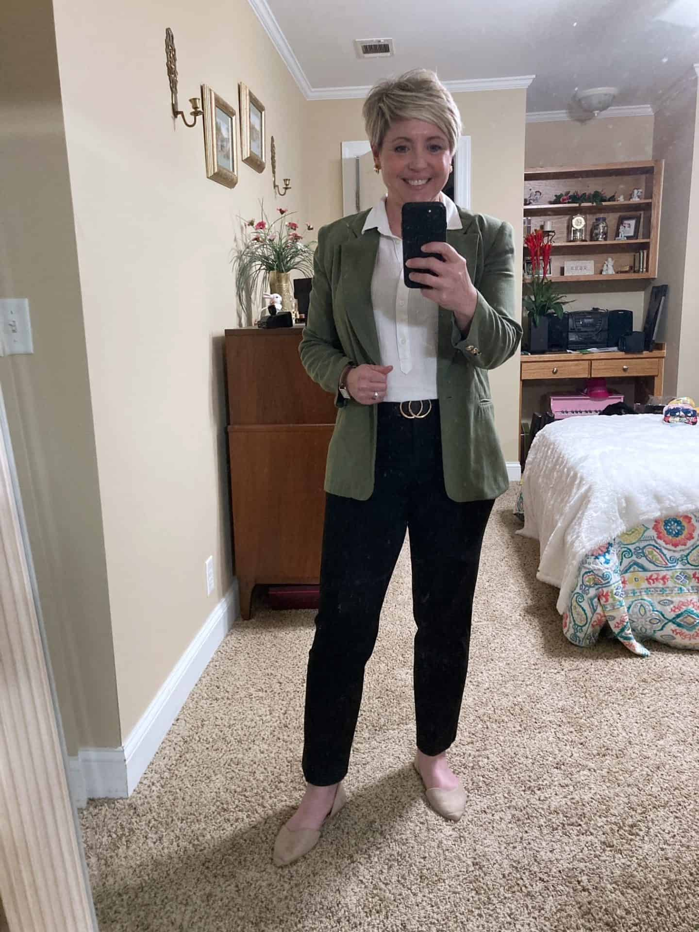 neutral work wear with olive blazer