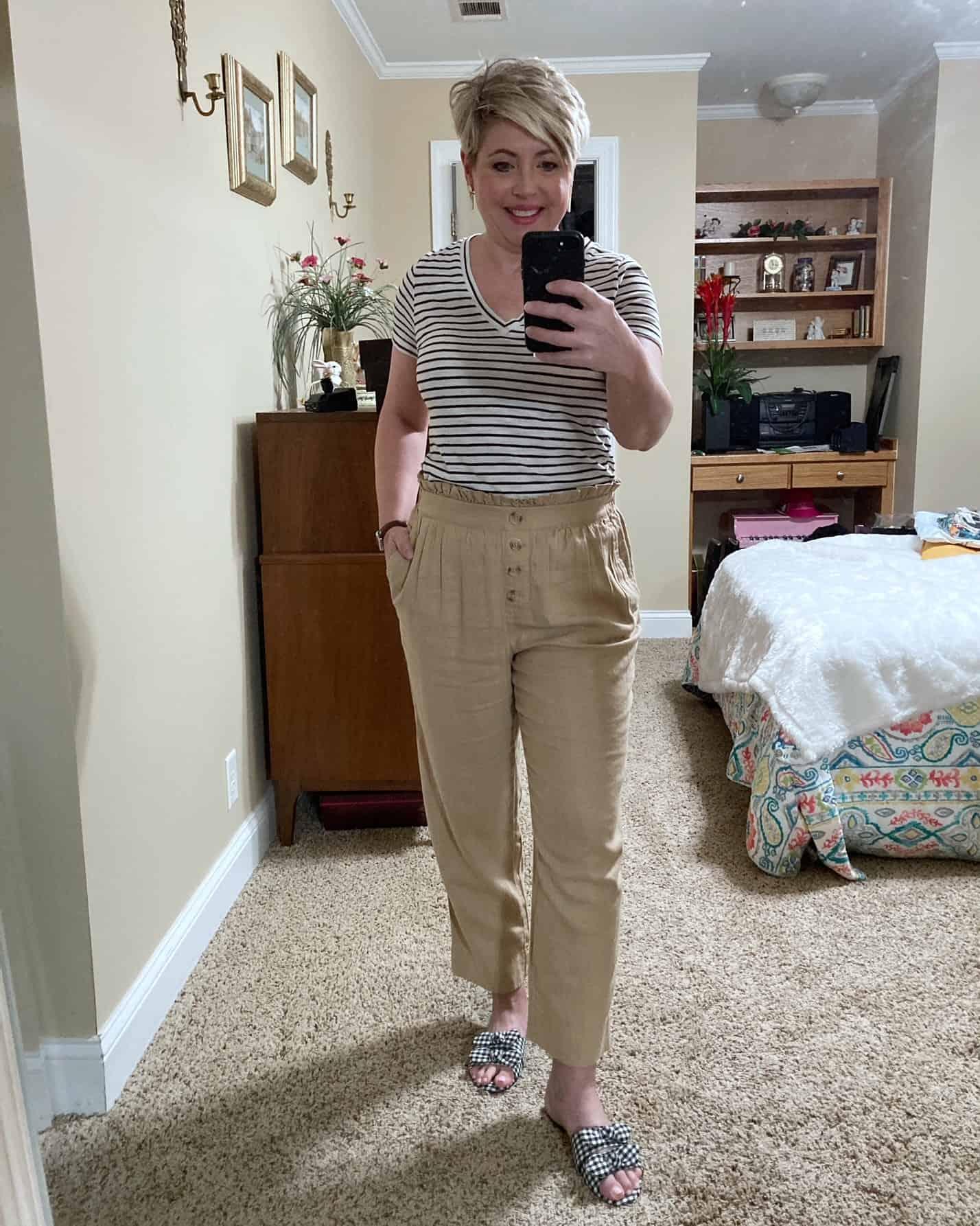 paperbag waist pants and gingham slides