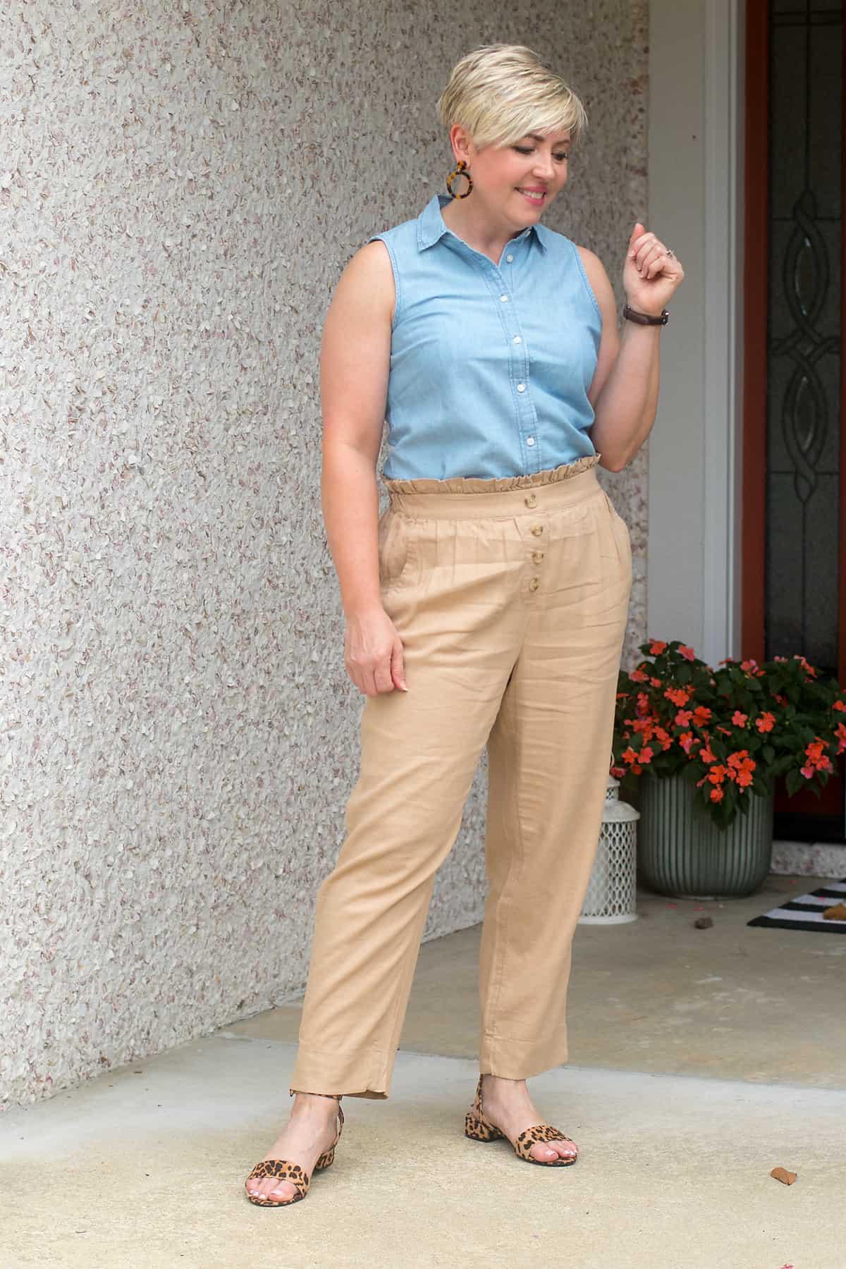 chambray shirt and paper bag waist pants summer outfit