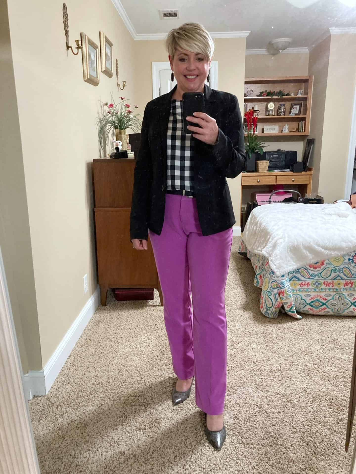 business casual work wear with bright pants