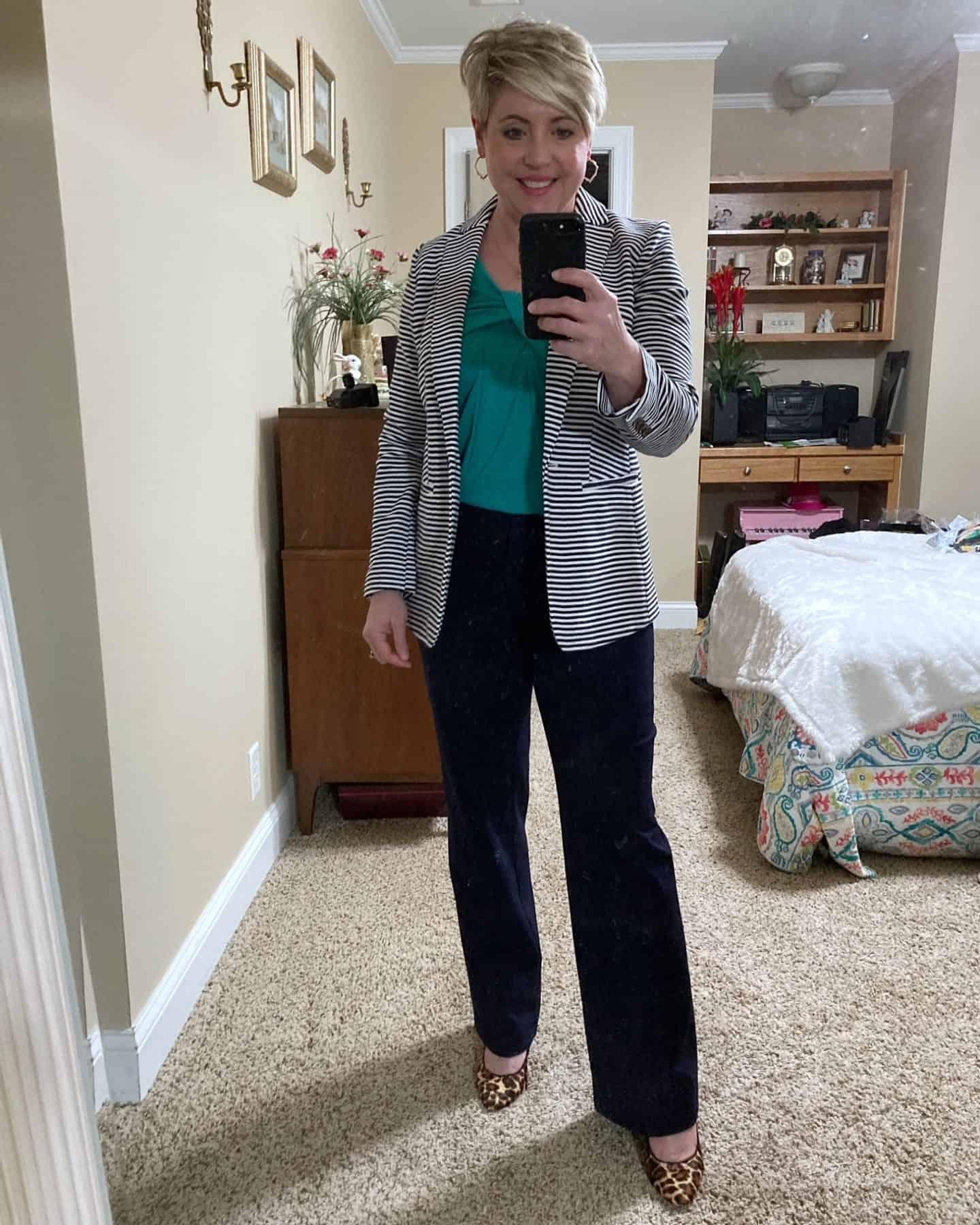 striped blazer outfit