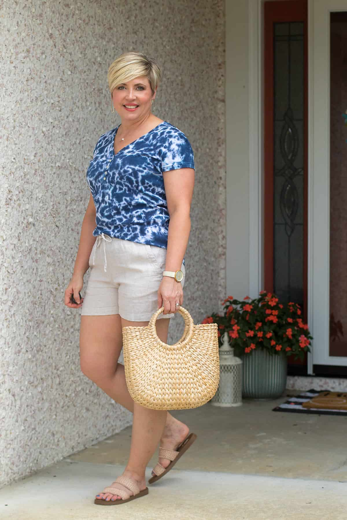 cute summer outfit with straw bag