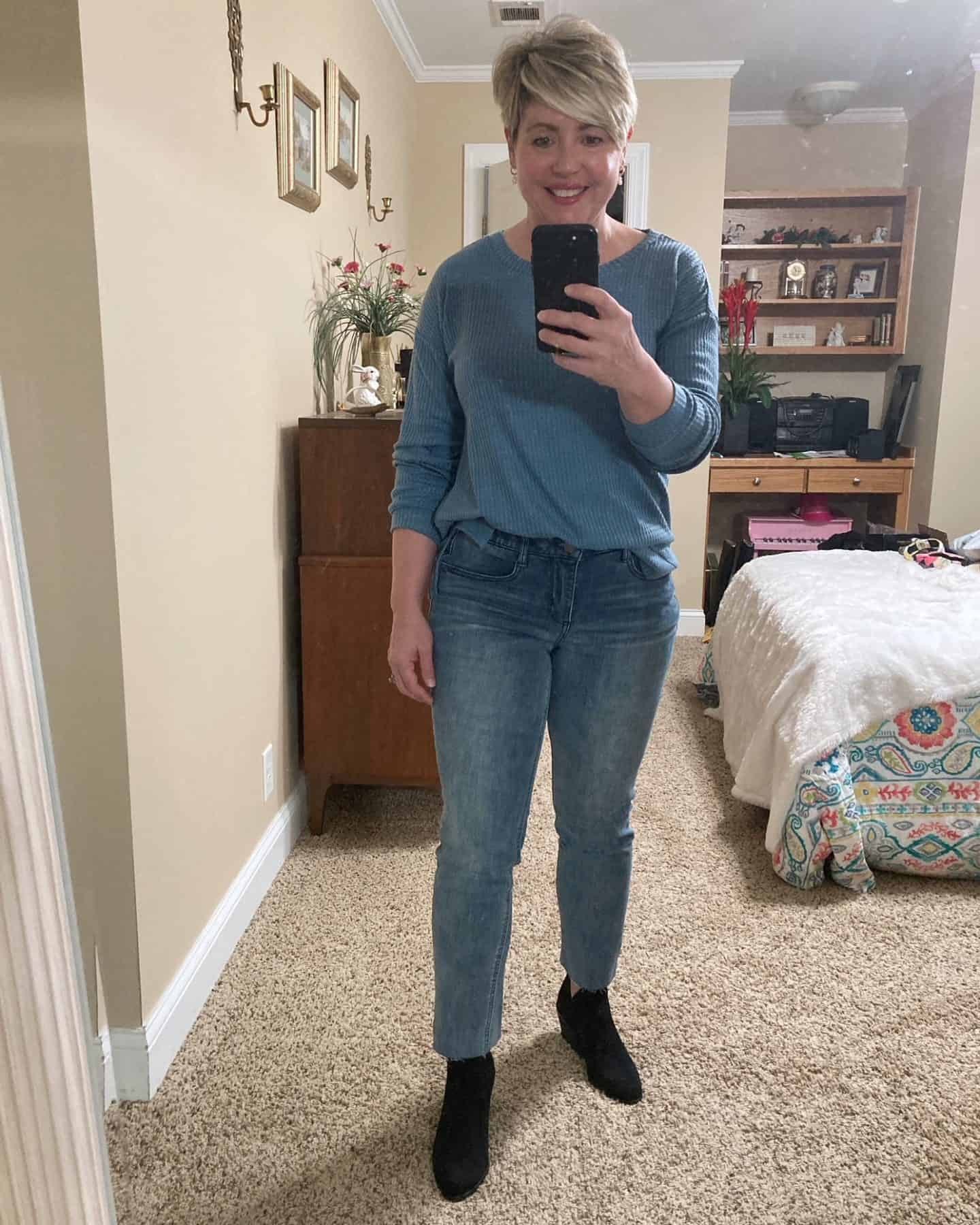 waffle knit top fall outfit