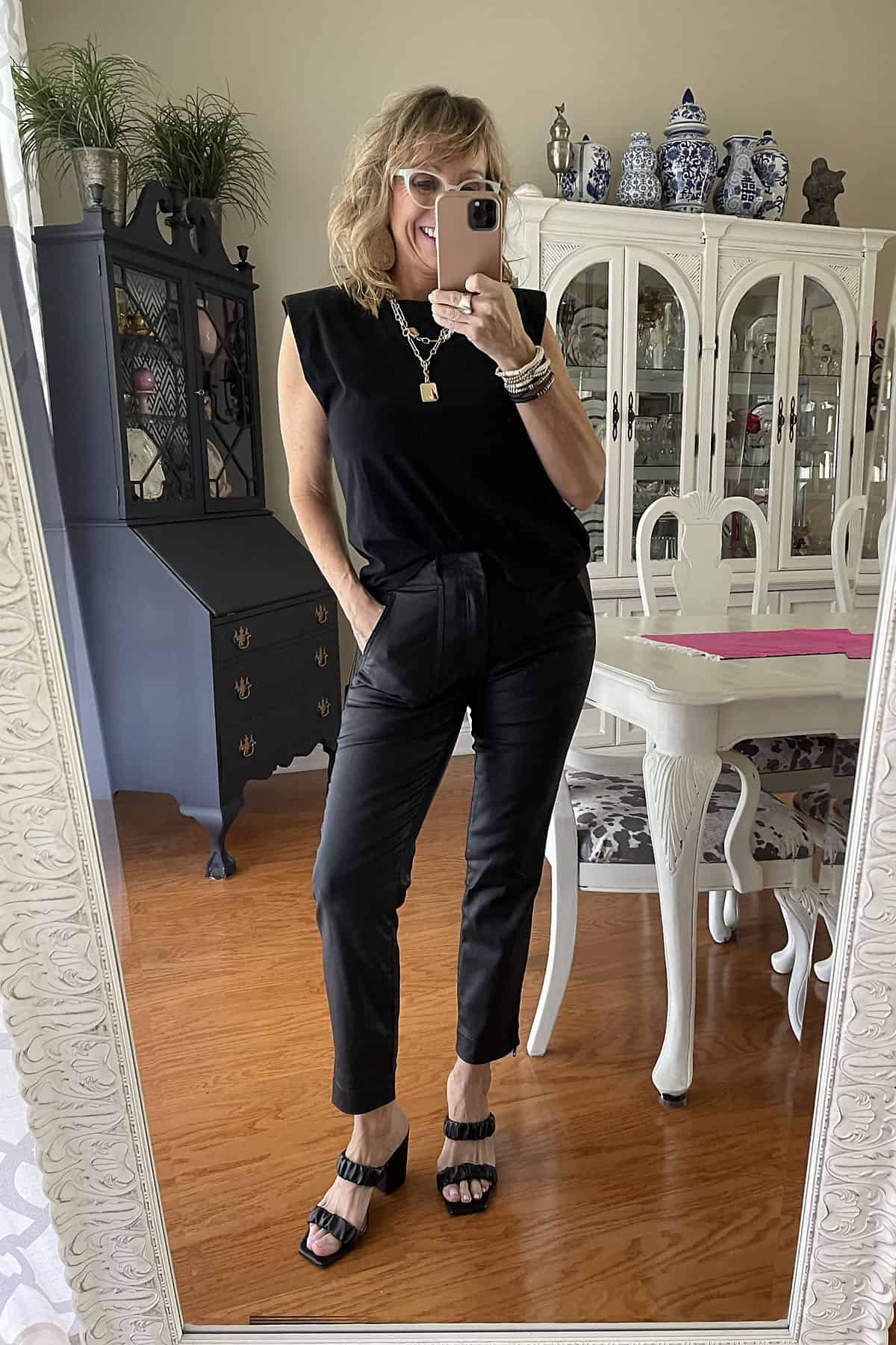 faux leather pants outfit