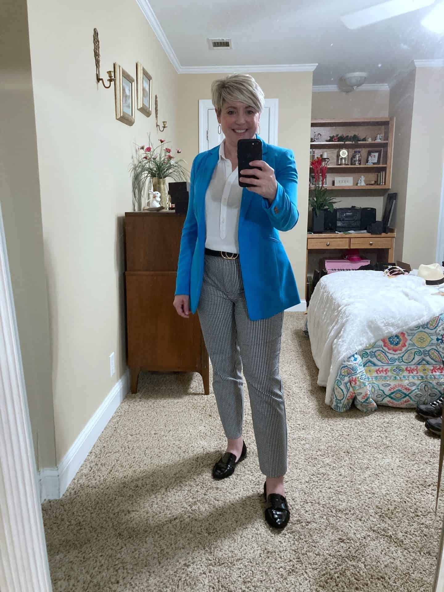 gingham pants and bright blue blazer outfit