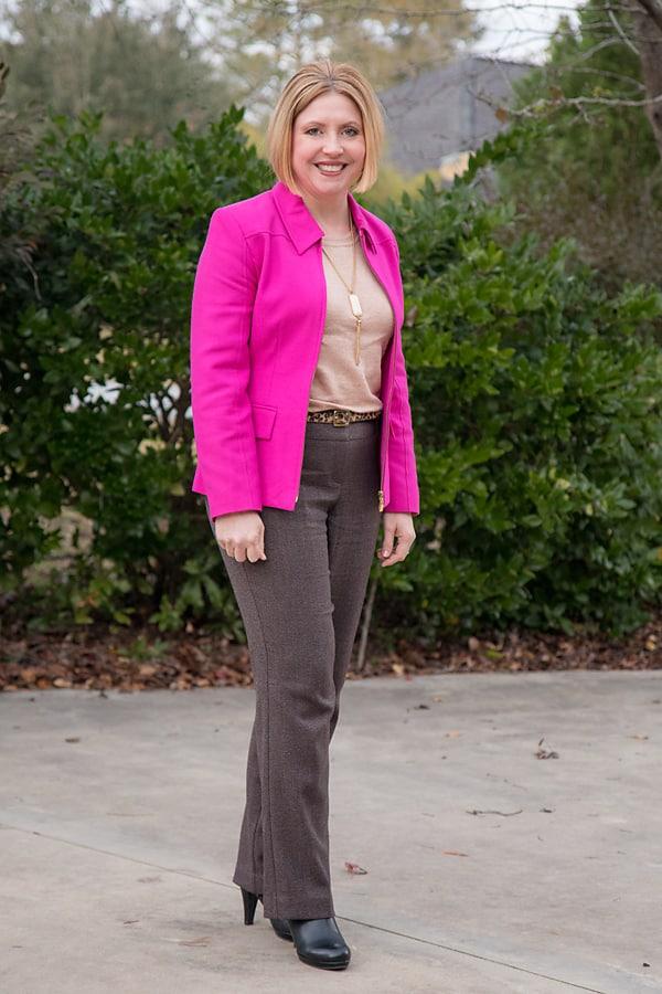 fuchsia blazer with brown pants