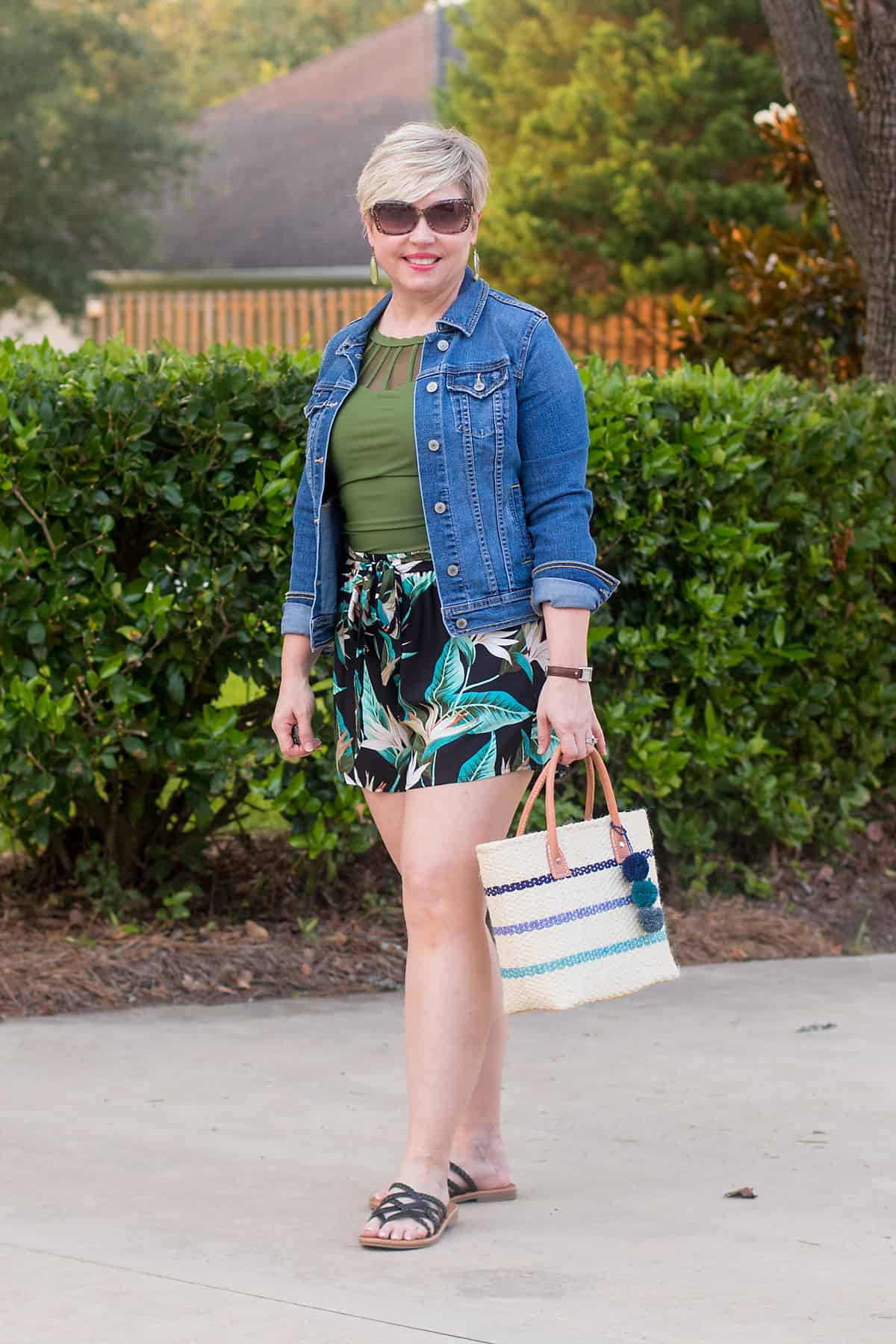 denim jacket and shorts summer outfit