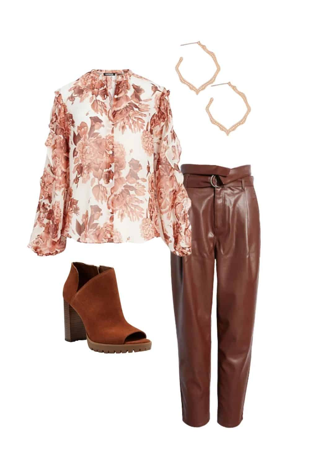 fall colors to wear, feminine and edgy fall outfit with blush and brown
