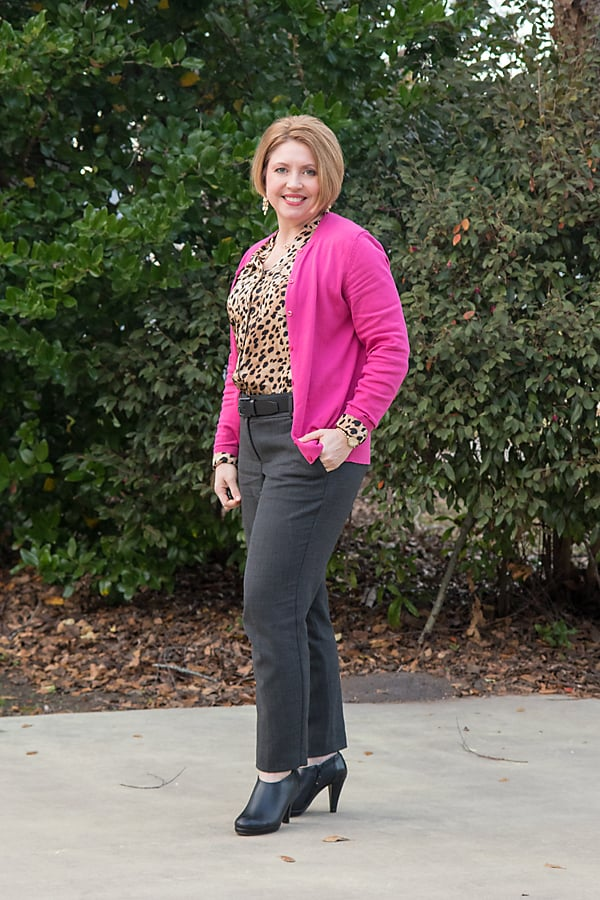 fuchsia cardigan with grey fall colors outfit