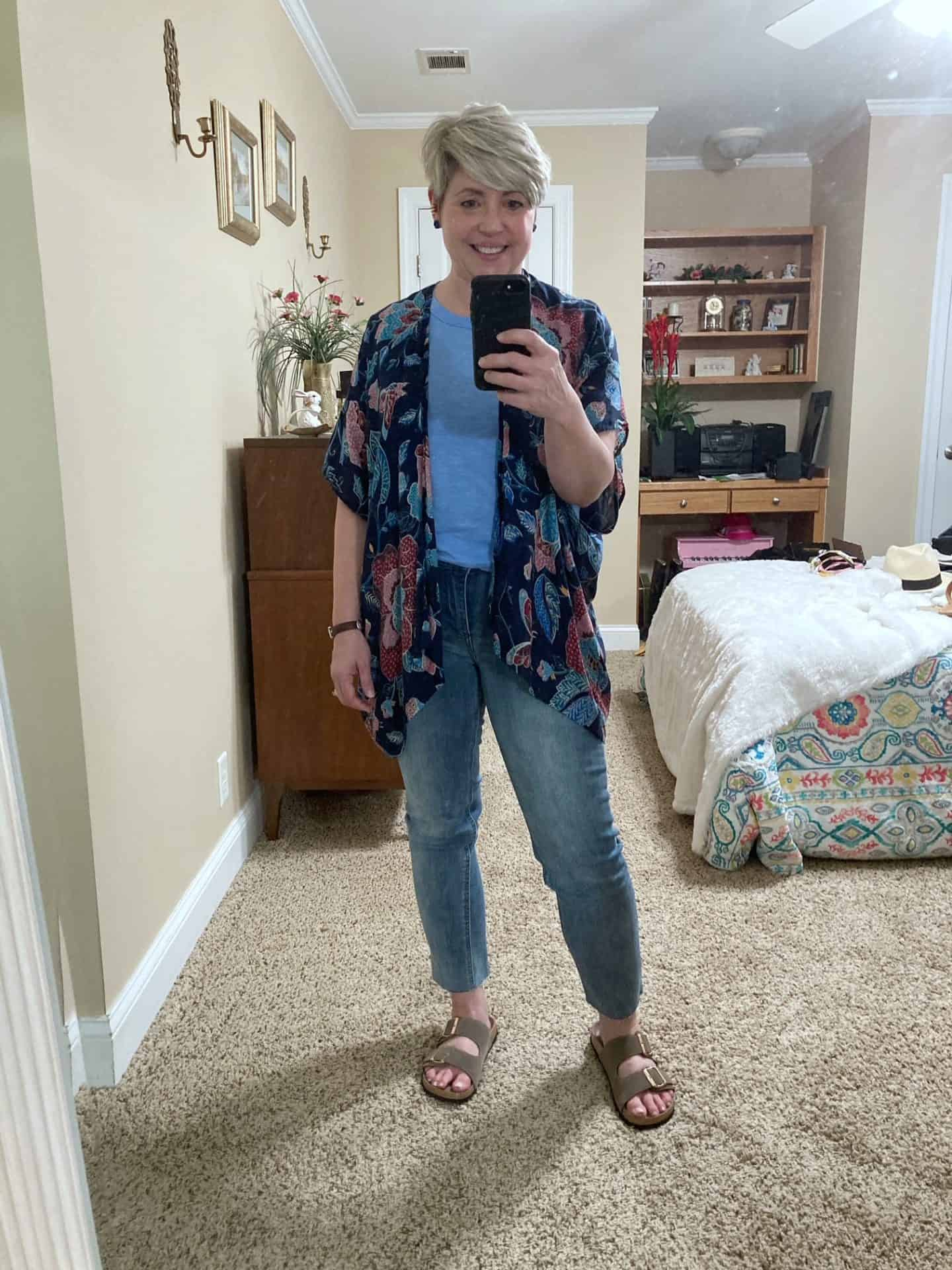 kimono and jeans outfit