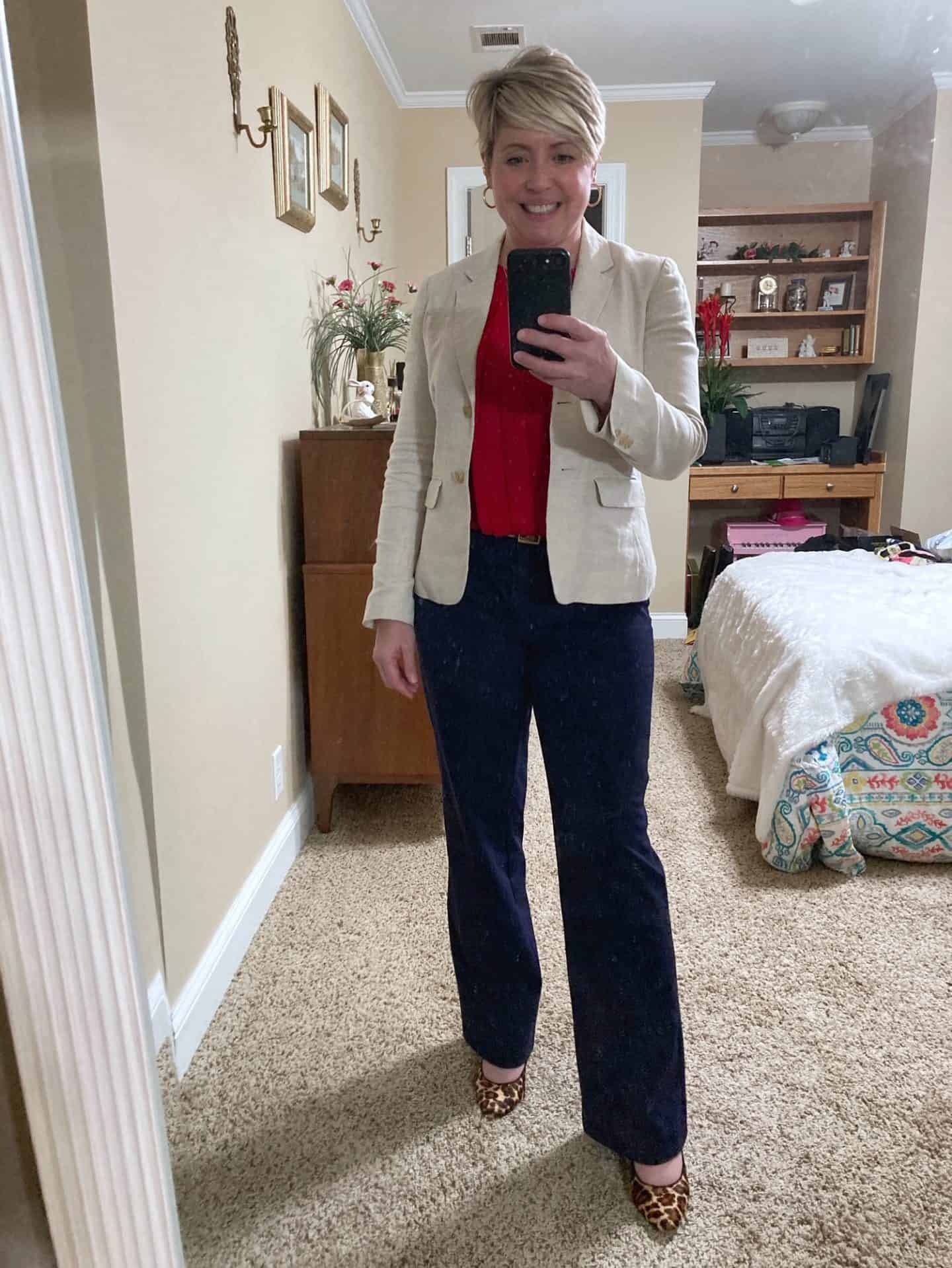 navy trousers workwear outfit