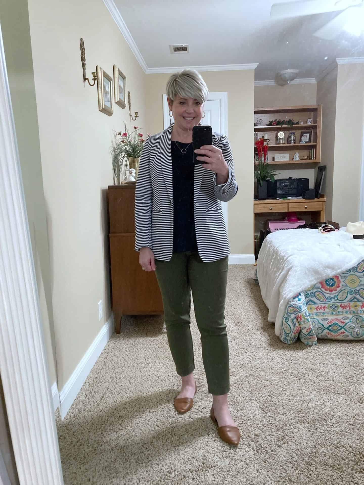 navy striped blazer and olive pants