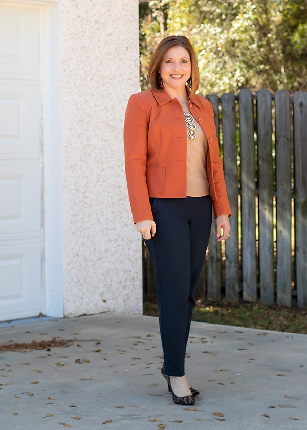 fall colors work wear with rust blazer