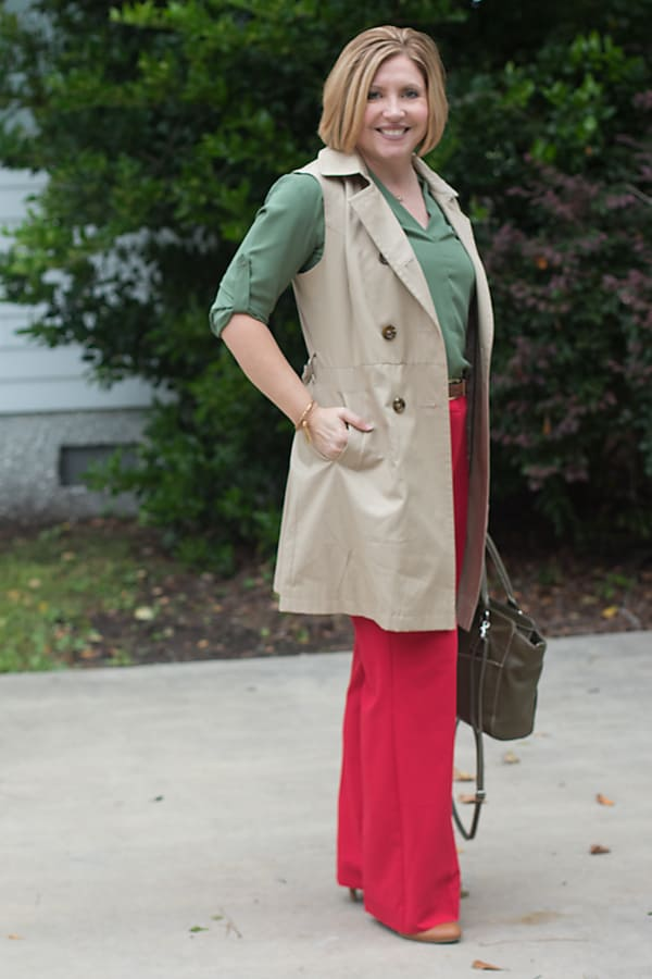 Olive and red work outfit