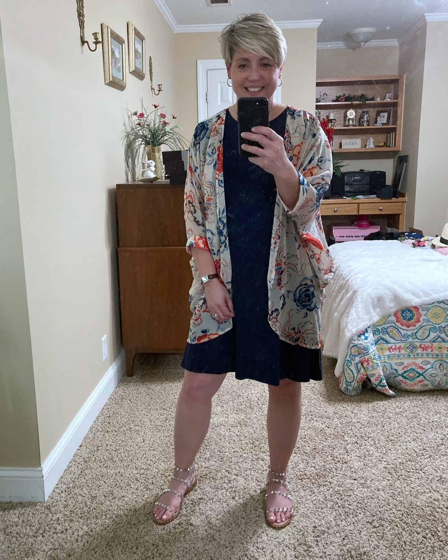 tshirt dress and kimono outfit
