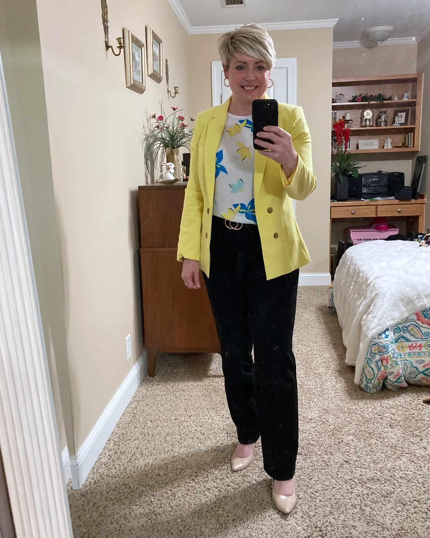 yellow blazer work outfit