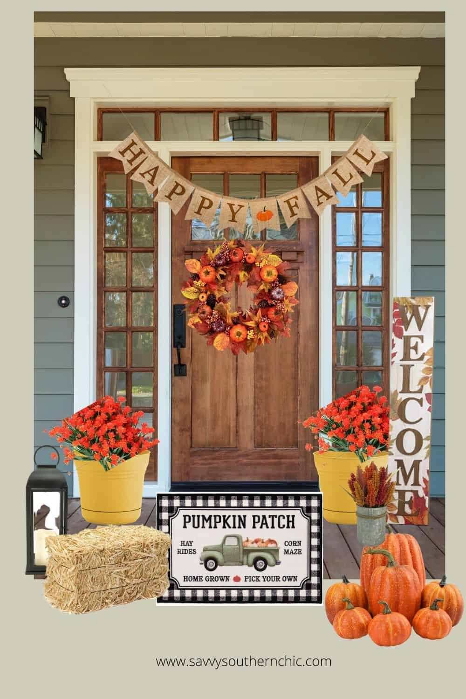 fall front porch front door outdoor decor