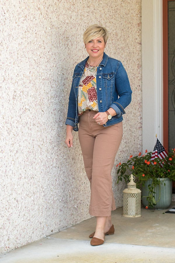wide leg cropped pants outfit