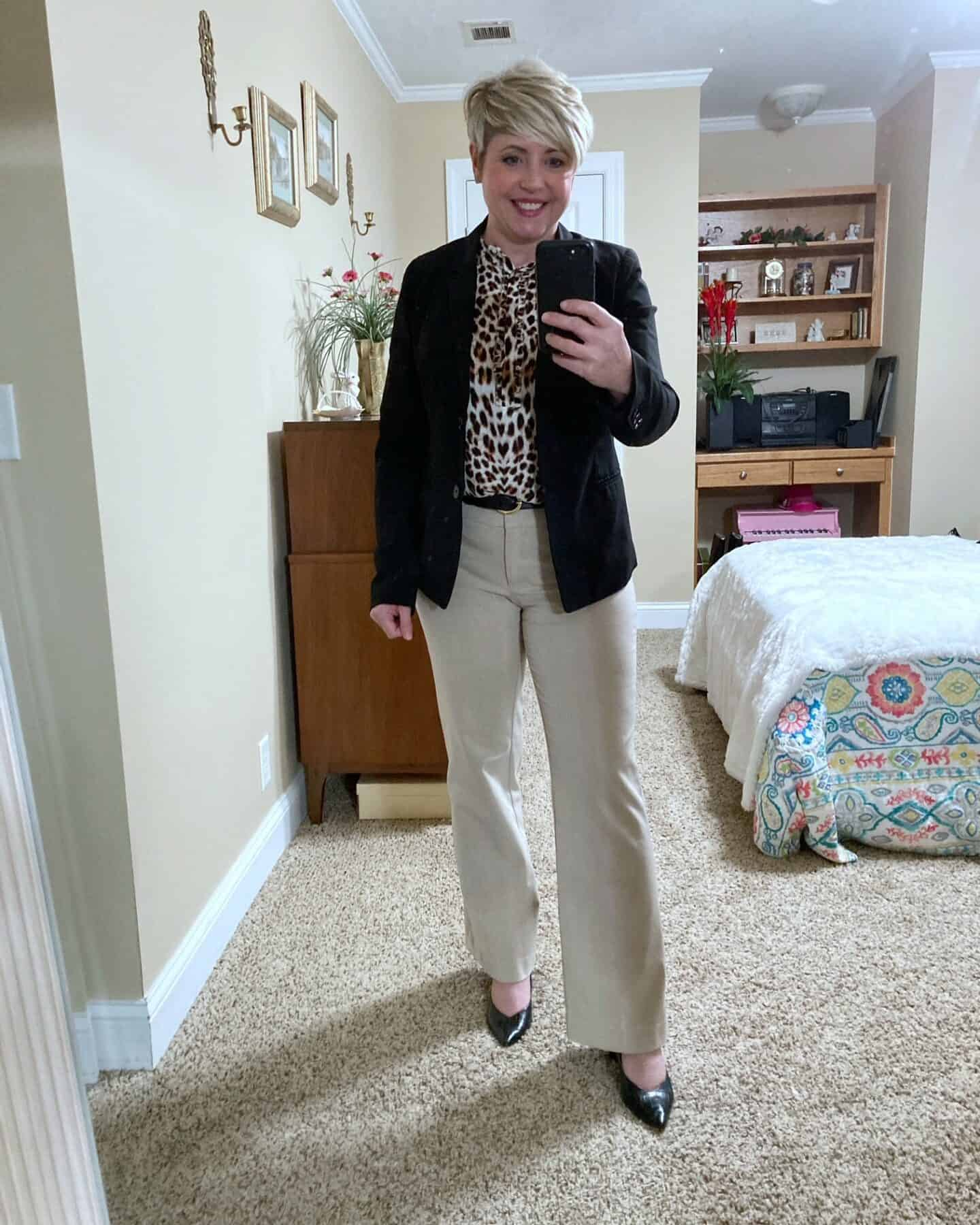 neutral work wear with leopard top
