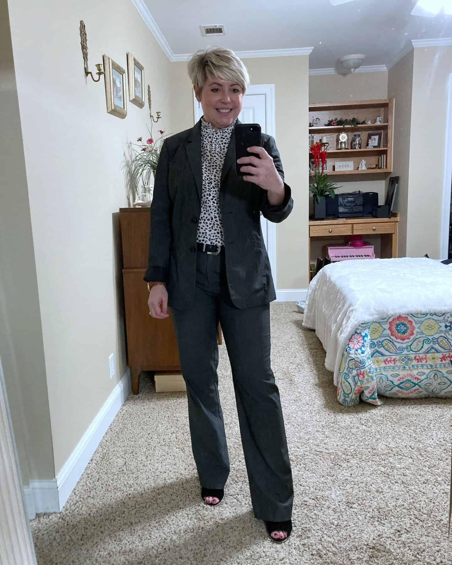 grey suit womens work wear