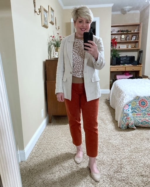 office outfit colored pants