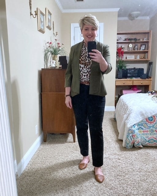 olive blazer work outfit