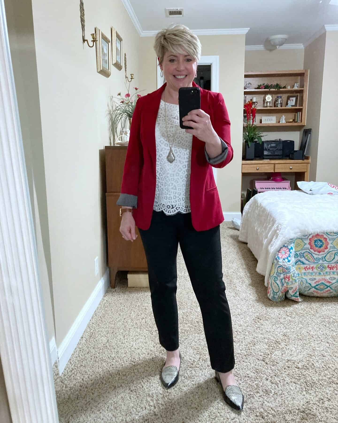 red blazer work wear outfit
