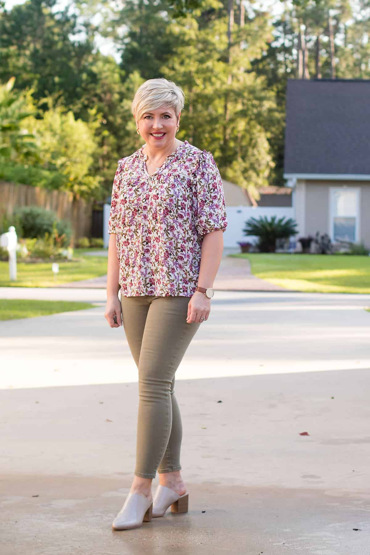 fall shirt with olive jeans