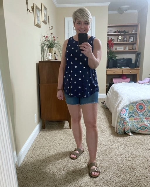 casual summer outfit denim shorts