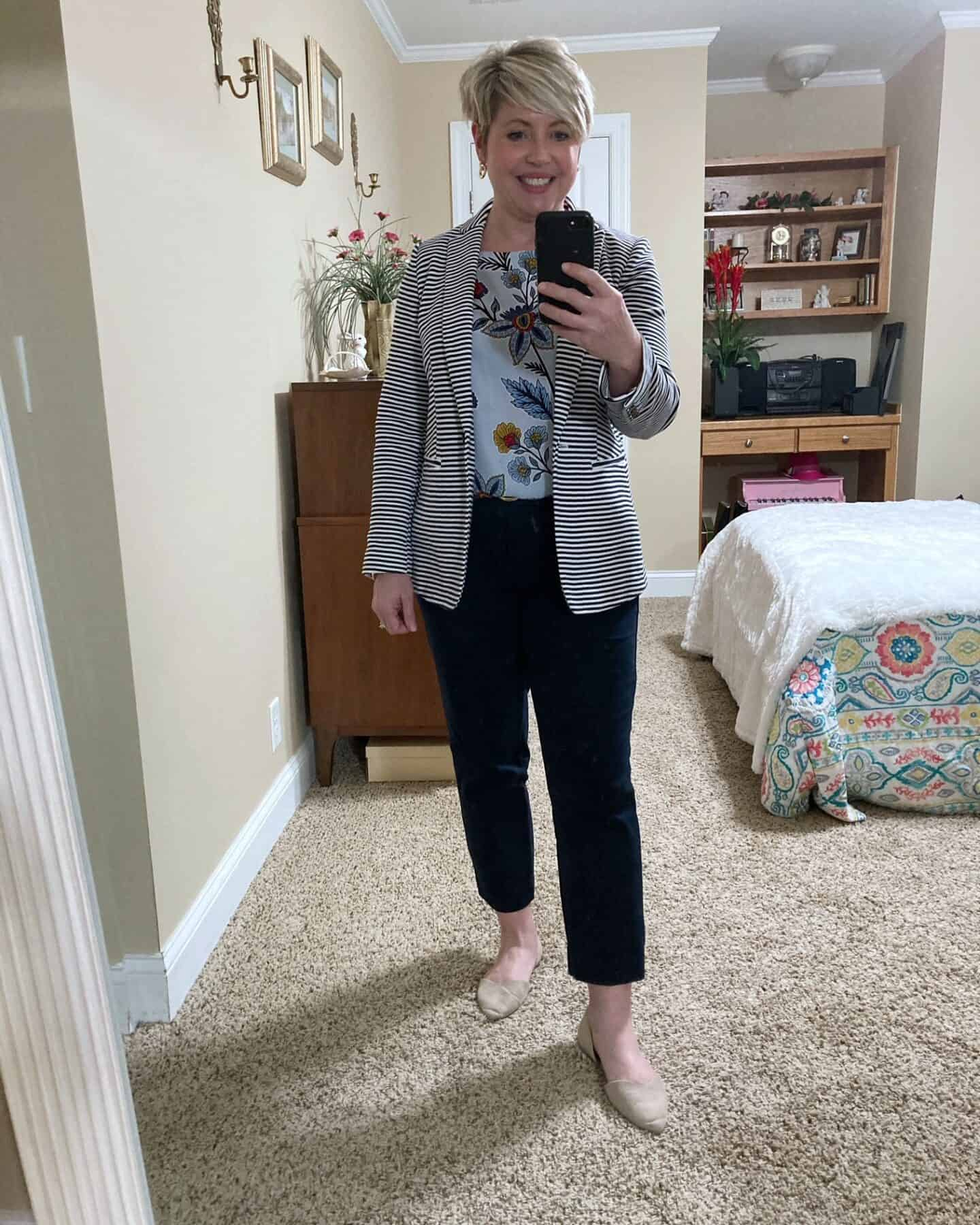 striped blazer with floral top