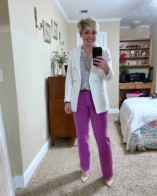 white linen blazer office outfit