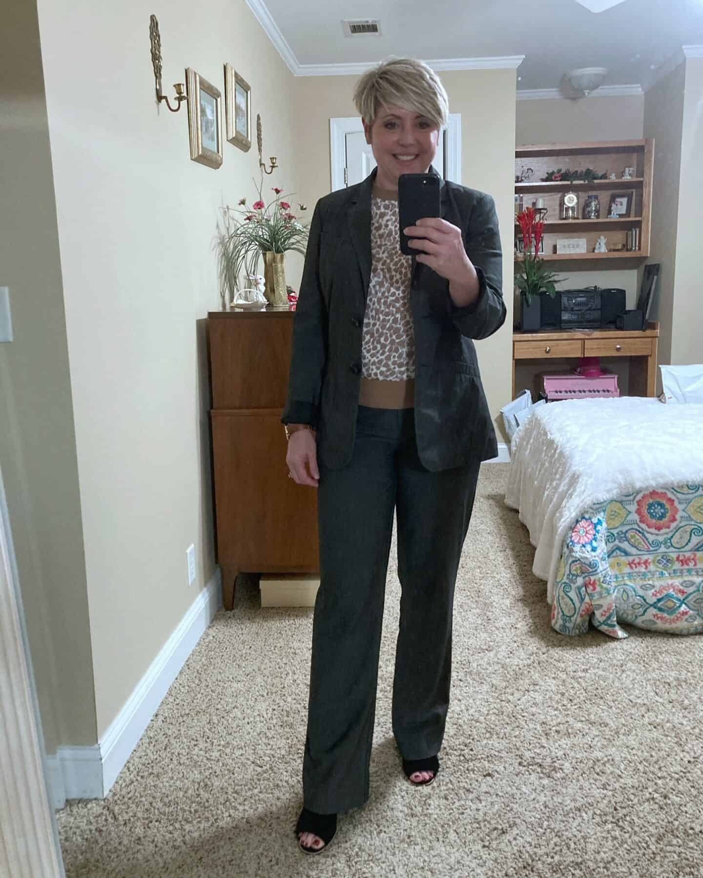 womens grey pant suit with leopard sweater